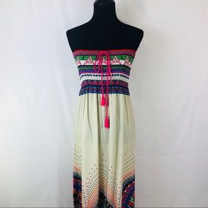 Flying Tomato Maxi Dress Strapless  Vibrant Boho